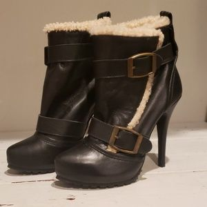 Topshop amores sherling black leather ankle boot